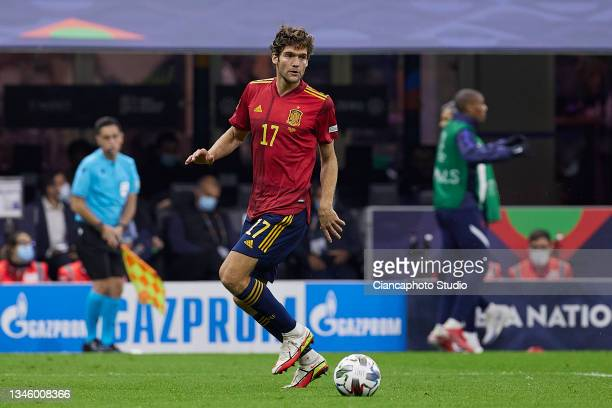 Marcos Alonso of Spain in action during the UEFA Nations League 2021 Final match between Spain and France at the Giuseppe Meazza Stadium on October...