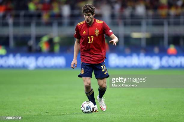 Marcos Alonso of Spain in action during the Uefa Nations League final match between Spain and France . France wins 2-1 over Spain.