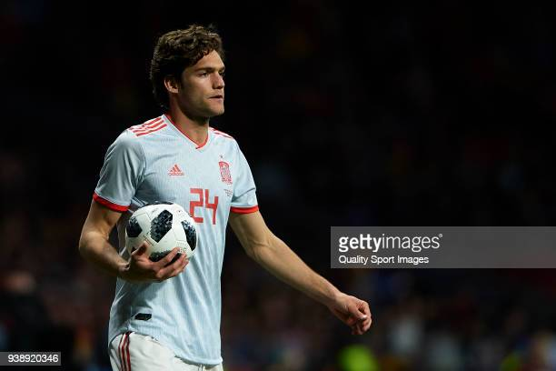 Marcos Alonso of Spain looks on during the International Friendly match between Spain and Argentina at Wanda Metropolitano Stadium on March 27 2018...