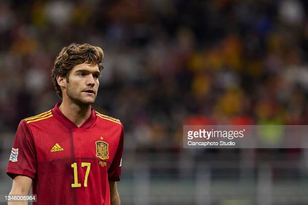 Marcos Alonso of Spain looks on during the UEFA Nations League 2021 Final match between Spain and France at the Giuseppe Meazza Stadium on October...
