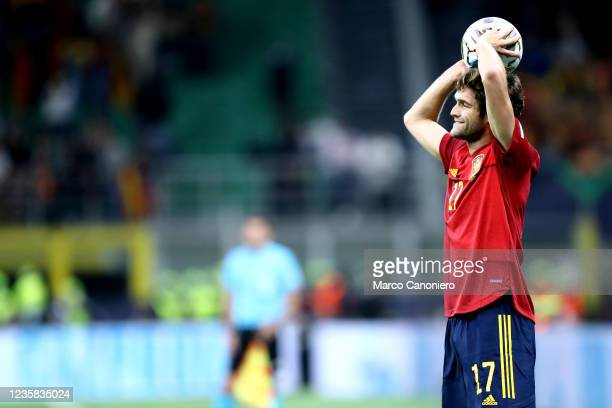 Marcos Alonso of Spain looks on during the Uefa Nations League final match between Spain and France . France wins 2-1 over Spain.