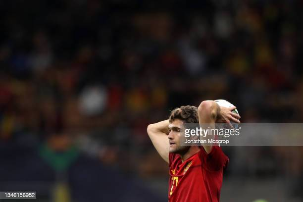 Marcos Alonso of Spain prepares to take a throw in during the UEFA Nations League 2021 Final match between Spain and France at San Siro Stadium on...