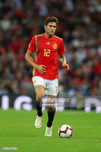Marcos Alonso of Spain runs with the ball during the UEFA Nations League A group four match between England and Spain at Wembley Stadium on September...