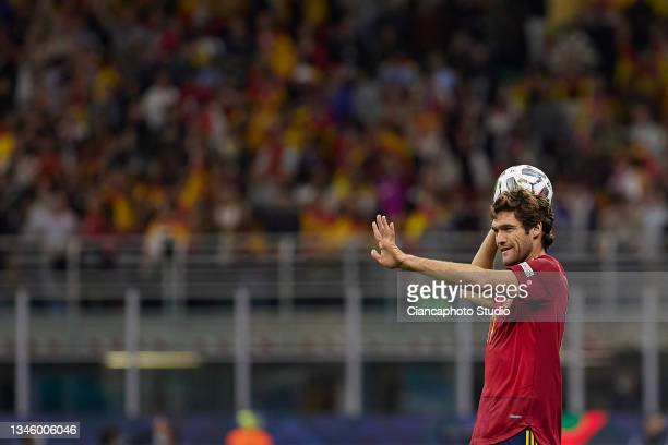 Marcos Alonso of Spain smiles during the UEFA Nations League 2021 Final match between Spain and France at the Giuseppe Meazza Stadium on October 10,...
