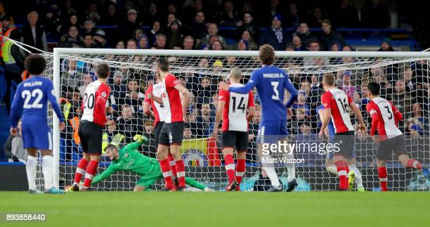 Marcos Alonso scores for Chelsea during the Premier League match between Chelsea and Southampton at Stamford Bridge on December 16 2017 in London...