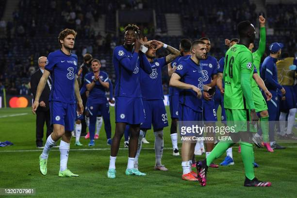 Marcos Alonso, Tammy Abraham, Emerson Palmieri and Hakim Ziyech of Chelsea celebrate winning the Champions League following the UEFA Champions League...