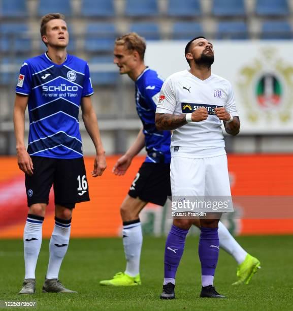 Marcos Alvarez of Osnabrück celebrates after scoring his team's second goal during the Second Bundesliga match between DSC Arminia Bielefeld and VfL...