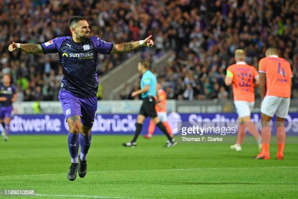 Marcos Alvarez of Osnabrueck celebrates scoring his teams fourth goal during the Second Bundesliga match between VfL Osnabrueck and SV Darmstadt 98...