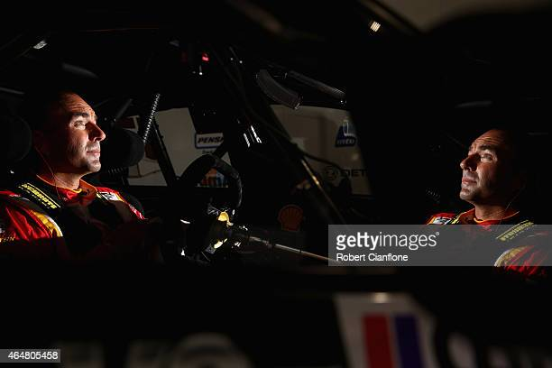 Marcos Ambrose driver of the DJR Team Penske Ford sits in his car prior to qualifying for race three for the V8 Supercars Clipsal 500 at Adelaide...