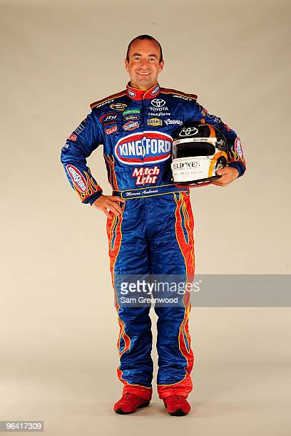 Marcos Ambrose, driver of the Little Debbie/ Kingsford/Clorox Toyota, poses during NASCAR media day at Daytona International Speedway on February 4,...