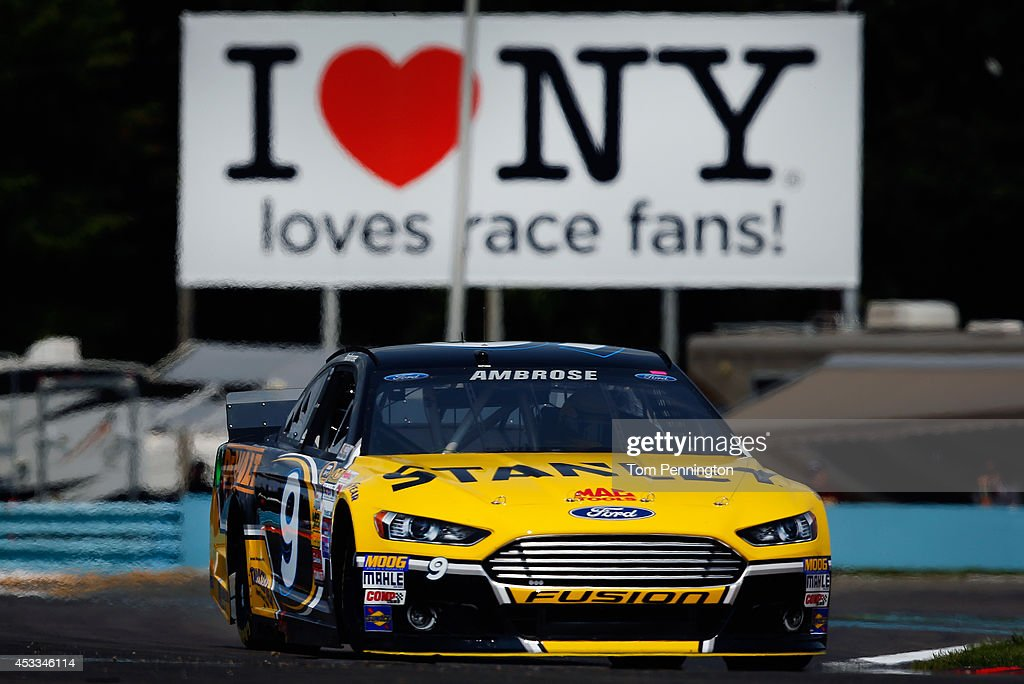 Marcos Ambrose, driver of the #9 Stanley Ford, practices for the NASCAR Sprint Cup Series Cheez-It 355 at Watkins Glen International on August 8, 2014 in Watkins Glen, New York.