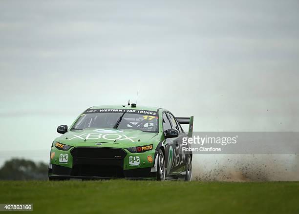 Marcos Ambrose drives the DJR Team Penske Ford during the 2015 V8 Supercars SuperTest at Sydney Motorsport Park on February 7, 2015 in Sydney,...