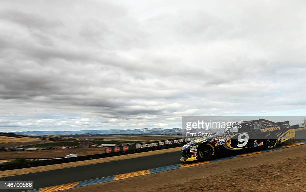 Marcos Ambrose drives the Stanley Ford during qualifying for the NASCAR Sprint Cup Series Toyota/Save Mart 350 at Sonoma on June 22, 2012 in Sonoma,...