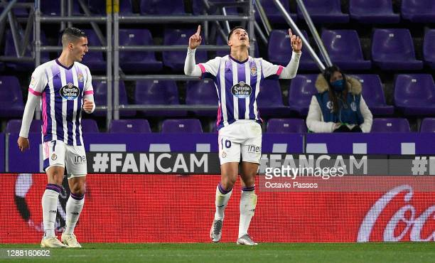 Marcos Andre of Real Valladolid celebrates after scoring their team's first goal during the La Liga Santander match between Real Valladolid CF and...