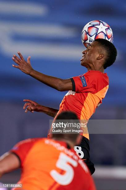 Marcos Antonio of Shakhtar Donetsk heading a ball during the UEFA Champions League Group B stage match between Real Madrid and Shakhtar Donetsk at...