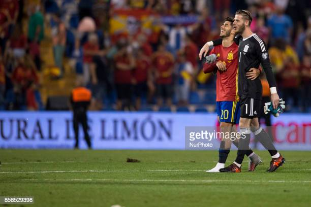 Marcos Asensio and David De Gea during the qualifying match for the World Cup Russia 2018 between Spain and Albaniaat the Jose Rico Perez stadium in...