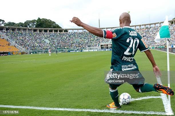 Marcos Assuncao kicks a corner during a friendly match between Palmeiras and Ajax at Pacaembu stadium on January 14 2012 in Sao Paulo Brazil