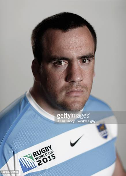 Marcos Ayerza of Argentina poses for a portrait during the Argentina Rugby World Cup 2015 squad photo call at the Marriott Hotel in Leicester on...