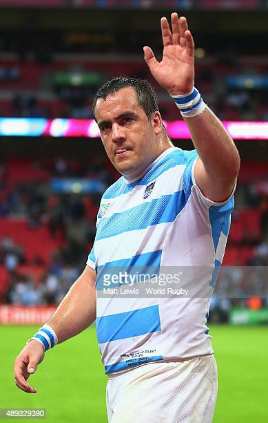 Marcos Ayerza of Argentina waves after the 2015 Rugby World Cup Pool C match between New Zealand and Argentina at Wembley Stadium on September 20...