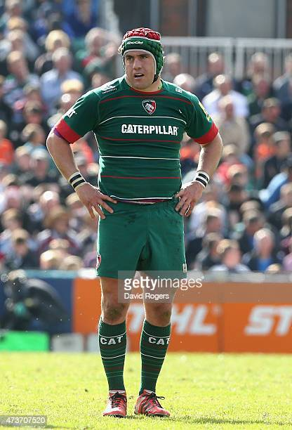 Marcos Ayerza of Leicester looks on during the Aviva Premiership match between Leicester Tigers and Northampton Saints at Welford Road on May 16 2015...