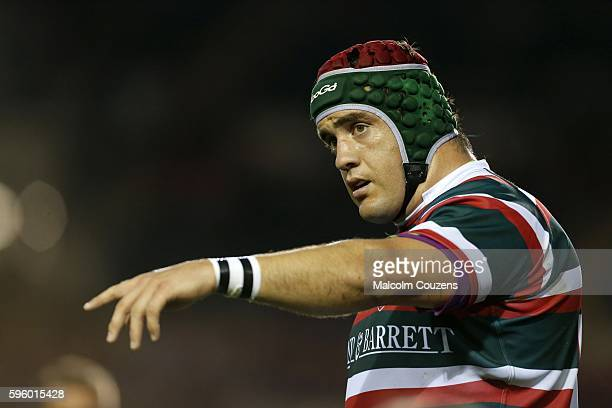 Marcos Ayerza of Leicester Tigers gestures during the preseason friendly between Leicester Tigers and Ospreys at Welford Road on August 26 in...