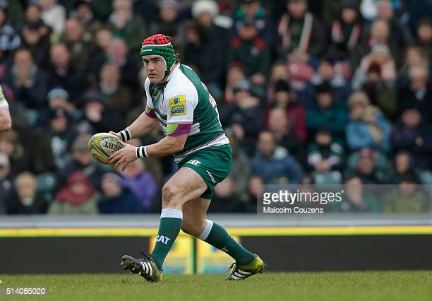 Marcos Ayerza of Leicester Tigers in action during the Aviva Premiership match between Leicester Tigers and Exeter Chiefs at Welford Road stadium on...