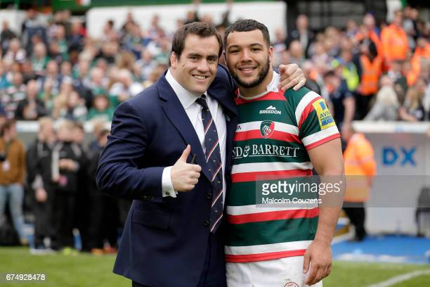 Marcos Ayerza of Leicester Tigers poses for a photograph with Ellis Genge following the Aviva Premiership match between Leicester Tigers and Sale...