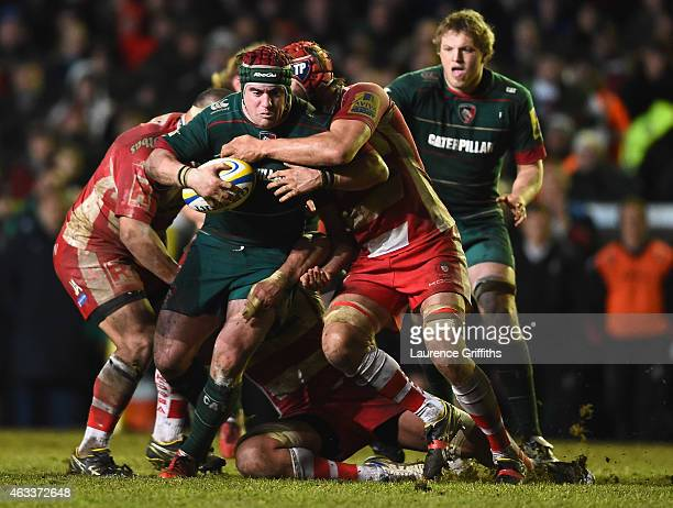 Marcos Ayerza of Leicester Tigers powers through the Gloucester defence during the Aviva Premiership match between Leicester Tigers and Gloucester...