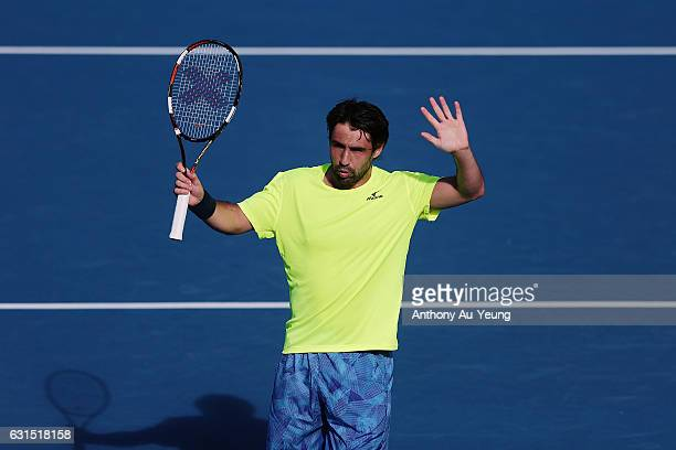 Marcos Baghdatis of Cyprus celebrates after winning his match against Jiri Vesely of Czech Republic on day 11 of the ASB Classic on January 12 2017...