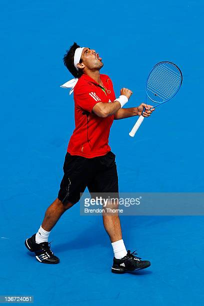 Marcos Baghdatis of Cyprus celebrates after winning his second round match against Matthew Ebden of the Australia during day four of the 2012 Sydney...