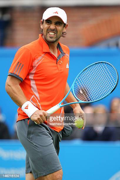 Marcos Baghdatis of Cyprus celebrates match point during his first round match against Frederico Gil of Portugal on day two of the AEGON...