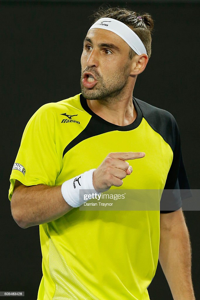Marcos Baghdatis of Cyprus gestures to his box in his first round match against Jo-Wilfried Tsonga of France during day one of the 2016 Australian Open at Melbourne Park on January 18, 2016 in Melbourne, Australia.