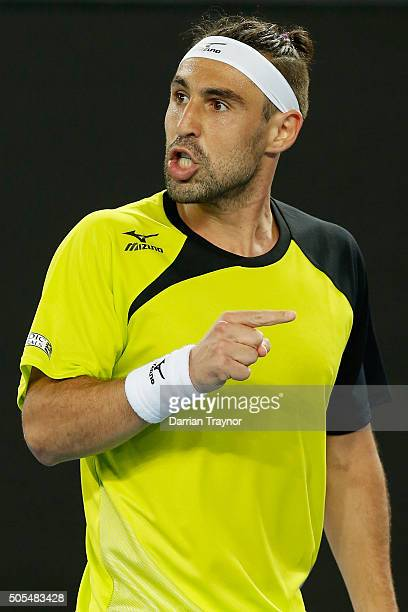 Marcos Baghdatis of Cyprus gestures to his box in his first round match against JoWilfried Tsonga of France during day one of the 2016 Australian...