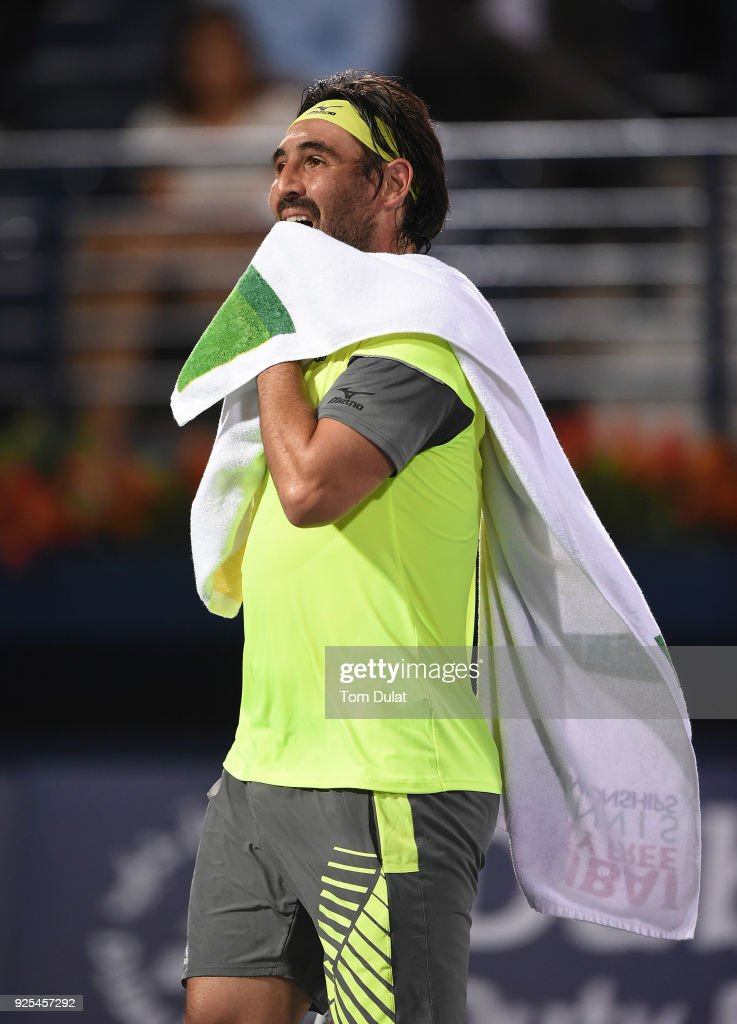 Marcos Baghdatis of Cyprus looks on during his match against Filip Krajinovic of Serbia on day three of the ATP Dubai Duty Free Tennis Championships at the Dubai Duty Free Stadium on February 28, 2018 in Dubai, United Arab Emirates.