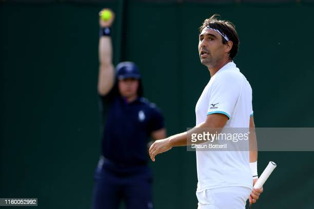 Marcos Baghdatis of Cyprus looks on in his Men's Singles second round match against Matteo Berrettini of Italy during Day four of The Championships -...