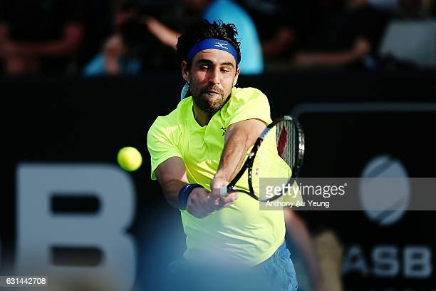 Marcos Baghdatis of Cyprus plays a backhand in his match against Dustin Brown of Germany on day ten of the ASB Classic on January 11 2017 in Auckland...