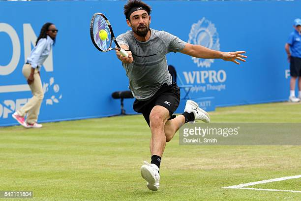 Marcos Baghdatis of Cyprus plays a forehand during his men's singles match against Sam Querrey of USA during day three of the ATP Aegon Open...