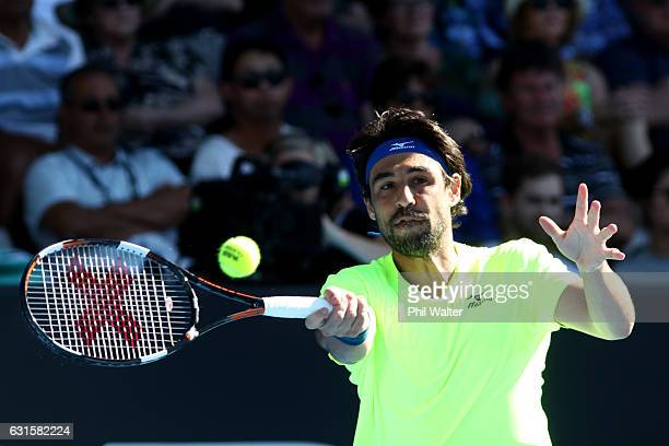 Marcos Baghdatis of Cyprus plays a return against Joao Sousa of Portugal on day 12 of the ASB Classic on January 13 2017 in Auckland New Zealand
