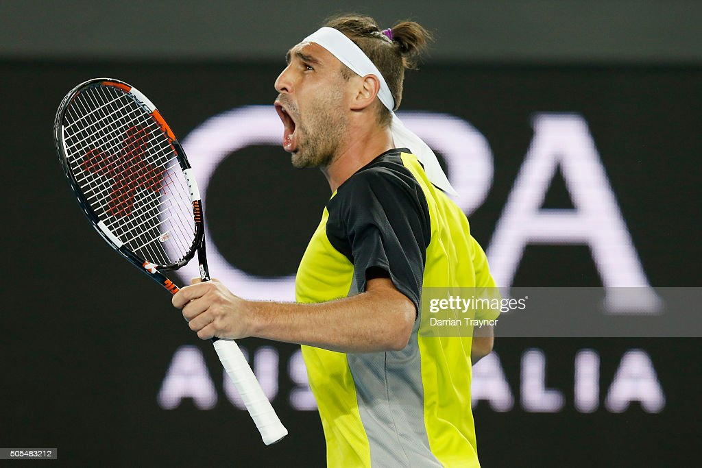 Marcos Baghdatis of Cyprus takes the second set in his first round match against Jo-Wilfried Tsonga of France during day one of the 2016 Australian Open at Melbourne Park on January 18, 2016 in Melbourne, Australia.