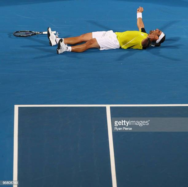 Marcos Baghdatis of Cyrprus celebrates winning match point in his men's final match against Richard Gasquet of France during day seven of the 2010...