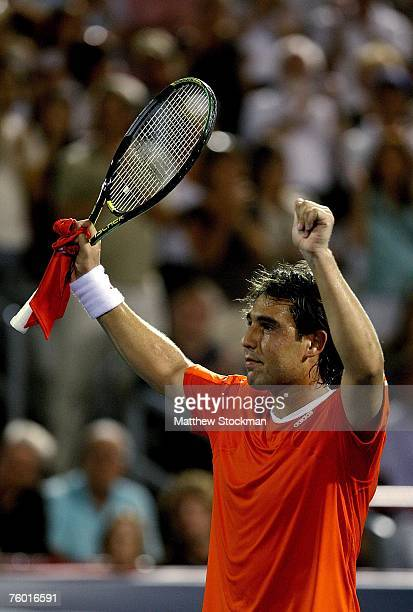 Marcos Baghdatis of Cyrpus celebrates his win over Carlos Moya of Spain during the Coupe Rogers August 7, 2007 at Stade Uniprix in Montreal, Quebec,...
