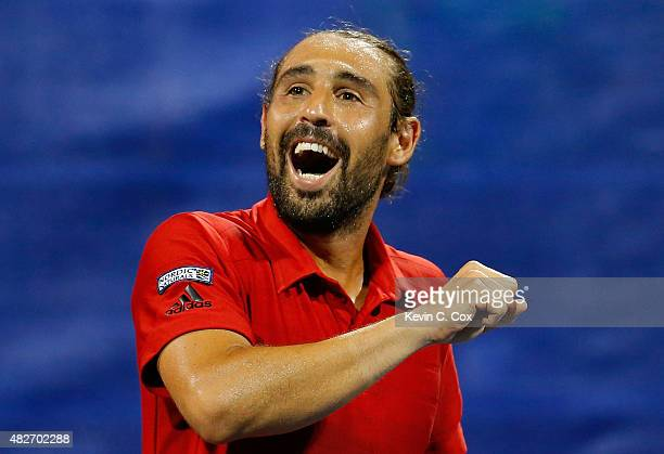 Marcos Baghdatis of Cyrpus reacts after defeating Gilles Muller of Luxembourg during the BB&T Atlanta Open at Atlantic Station on August 1, 2015 in...