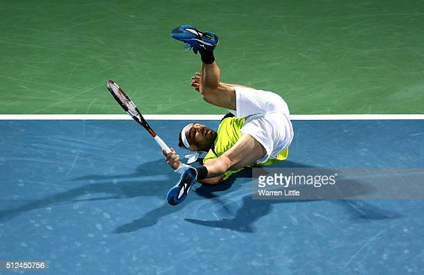 Marcos Baghdatis of Cyrus in action during his semi final match against Feliciano Lopez of Spain on day seven of the ATP Dubai Duty Free Tennis...