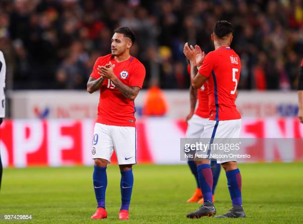 Marcos Bolados of Chile celebrates after the victory during the International Friendly match between Sweden and Chile at Friends arena on March 24...