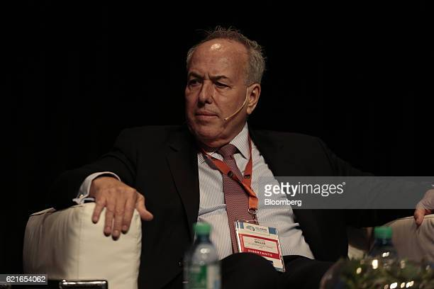 Marcos Brujis global industry director of Financial Institutions Group listens during a panel discussion at the 50th Anniversary Federation of Latin...