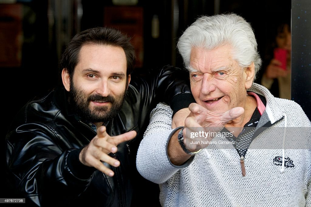 Marcos Cobota and David Prowse (Darth Vader) attend 'I Am Your Father' photocall at Verdi Cinema on November 18, 2015 in Madrid, Spain.