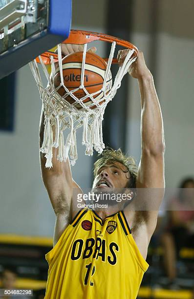 Marcos Delia of Obras Sanitarias dunks the ball during a match between Boca Juniors and Obras Sanitarias as part of Liga Nacional de Basquetbol...