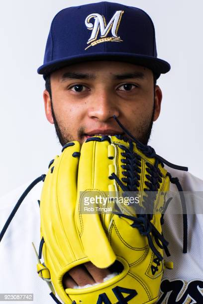 Marcos Diplan of the Milwaukee Brewers poses for a portrait during Photo Day at the Milwaukee Brewers Spring Training Complex on February 22 2018 in...