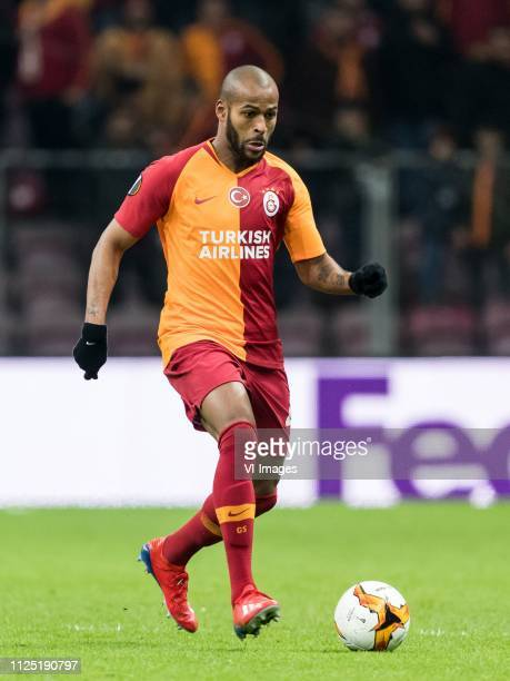 Marcos do Nascimento Teixeira of Galatasaray SK during the UEFA Europa League round of 32 match between Galatasaray SK and SL Benfica at Ali Sami Yen...