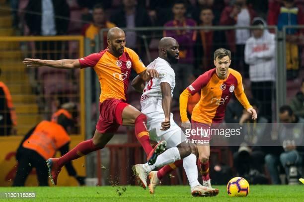 Marcos do Nascimento Teixeira of Galatasaray SK, Souleymane Doukara of Antalyaspor AS, Martin Linnes of Galatasaray SK during the Turkish Spor Toto...